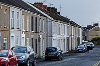 Pictured: A row of terraced houses in Old Castle Road in Llanelli, Wednesday 09 March 2018<br /> Re: The effect that the Scarlets RFC has had in the town of Llanelli in Carmarthenshire and the west Wales region.