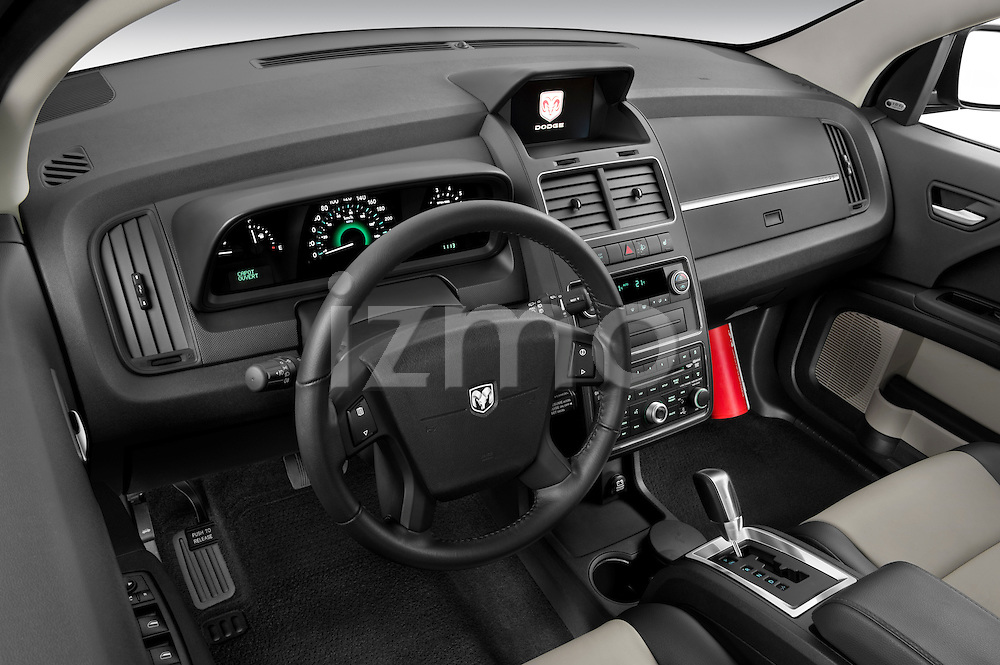 High angle dashboard view of a 2009 Dodge Journey
