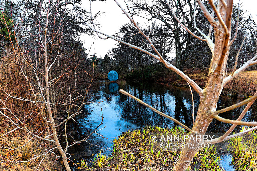 "At Nassau County Museum of Art, Allen Bertoldi's painted steel outdoor sculpture ""Wood Duck"" in water (center in distance), on February 12, 2012, Roslyn Harbor, New York, USA. (photo © 2012 Ann Parry, ann-parry.com) NOTE: fresco treatment"