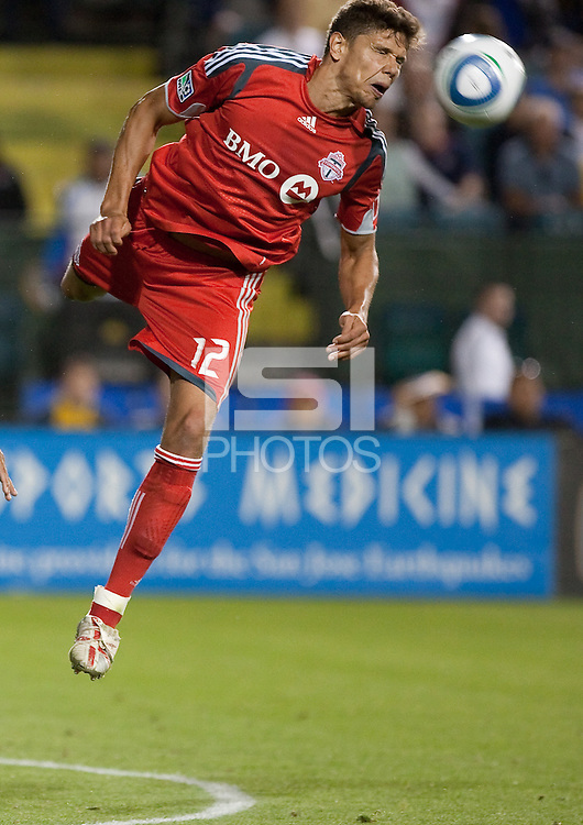 Adrian Cann (12) heads the ball. Toronto FC defeated the San Jose Earthquakes 3-1 at Buck Shaw Stadium in Santa Clara, California on May 29th, 2010.