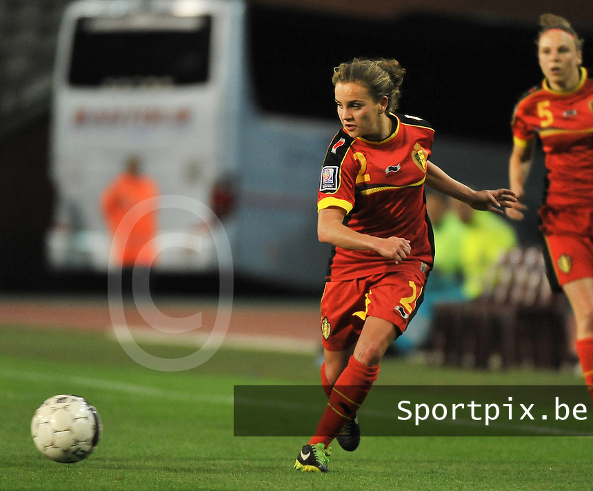 20130921 - BRUSSELS , BELGIUM : Belgian Davina Philtjens pictured during the female soccer match between Belgium and Albania , on the first matchday in group 5 of the UEFA qualifying round to the FIFA Women World Cup in Canada 2015 at the Koning Boudewijn Stadion , Brussels . Saturday 21th September 2013. PHOTO DAVID CATRY