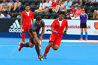 Valentin Verga of Netherlands is chased by Yang Ao of China during the Hockey World League Quarter-Final match between Netherlands and China at the Olympic Park, London, England on 22 June 2017. Photo by Steve McCarthy.<br /> <br /> Netherlands v China at the Olympic Park, London, England on 22 June 2017. Photo by Steve McCarthy.