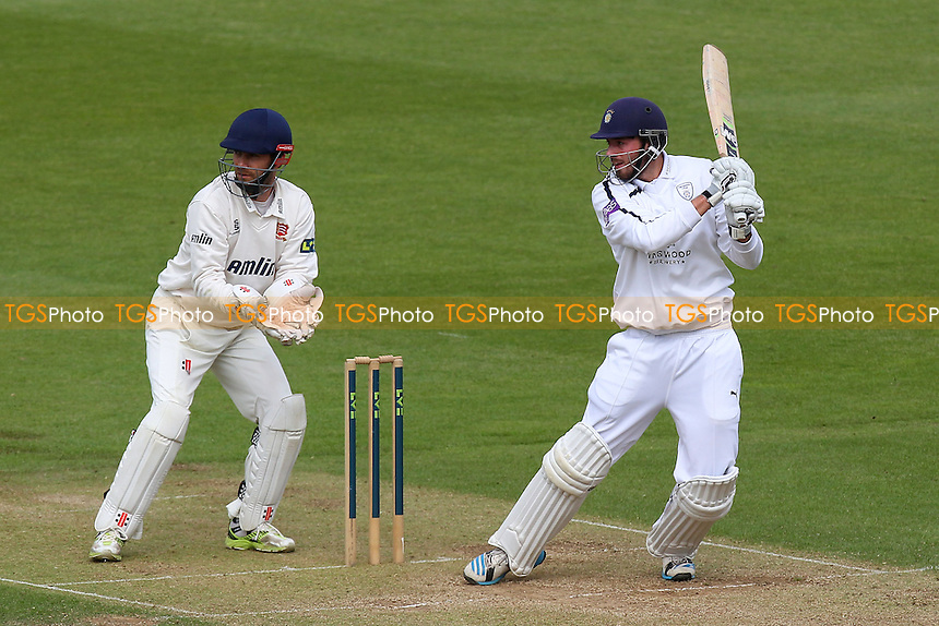 James Vince hits out for Hampshire as James Foster looks on - Hampshire CCC vs Essex CCC - LV County Championship Division Two Cricket at the Ageas Bowl, West End, Southampton - 16/06/14 - MANDATORY CREDIT: Gavin Ellis/TGSPHOTO - Self billing applies where appropriate - 0845 094 6026 - contact@tgsphoto.co.uk - NO UNPAID USE