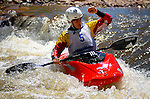 June 4, 2016 - Lyons, Colorado, U.S. -  French freestyle kayaker, Dumoulin Mathieu, salutes the crowd following his performance in the Black Bear Hole on the South Saint Vrain River during freestyle competition at the Lyons Outdoor Games, Lyons, Colorado.