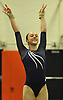Miranda Lund of Plainview JFK concludes her floor routine during the Nassau County varsity gymnastics individual championships and state qualifiers at Hicksville High School on Tuesday, Feb. 9, 2016. She won the all-around with a score of 37.625.