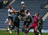 Newcastle United's Paul Dummett heads clear from Preston North End's Tom Clarke and Patrick Bauer<br /> <br /> Photographer Stephen White/CameraSport<br /> <br /> Football Pre-Season Friendly - Preston North End v Newcastle United - Saturday July 27th 2019 - Deepdale Stadium - Preston<br /> <br /> World Copyright © 2019 CameraSport. All rights reserved. 43 Linden Ave. Countesthorpe. Leicester. England. LE8 5PG - Tel: +44 (0) 116 277 4147 - admin@camerasport.com - www.camerasport.com