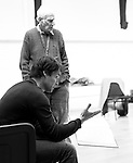 """King Lear"" rehearsed reading rehearsals. Old Vic Theatre. Director: Jonathan Miller. Jonathan Miller (rear), Tam Williams (seated)."