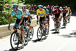 Astana Pro Team at the front of the peloton during Stage 8 of the Criterium du Dauphine 2019, running 113.5km from Cluses to Champery, Switzerland. 16th June 2019.<br /> Picture: ASO/Alex Broadway | Cyclefile<br /> All photos usage must carry mandatory copyright credit (© Cyclefile | ASO/Alex Broadway)