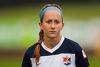 Sky Blue FC midfielder Manya Makoski (22). Sky Blue FC and the Boston Breakers played to a 0-0 tie during a National Women's Soccer League (NWSL) match at Yurcak Field in Piscataway, NJ, on July 13, 2013.