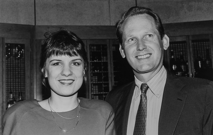 "Rep. Jim McCrery, R-La., with Janette Hill at ""Delta Force II"" film screening, on May 21, 1990. (Photo by Laura Patterson/CQ Roll Call via Getty Images)"