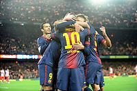 Pedro Rodriguez - Leo Messi ( FC Barcelone ) .Football Calcio 2012/2013.La Liga Spagna.Foto Panoramic / Insidefoto .ITALY ONLY