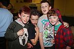 Eoghan  Sharkey Connor Kirwan Craig shelvin Thomas Maguire..at the junior disco in Clogherhead community hall..Picture: Fran Caffrey/www.newsfile.ie.