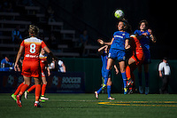Seattle, Washington - Sunday, June 12, 2016: Seattle Reign FC midfielder Lindsay Elston (6) goes up for a header during a regular season National Women's Soccer League (NWSL) match at Memorial Stadium. Seattle won 1-0.