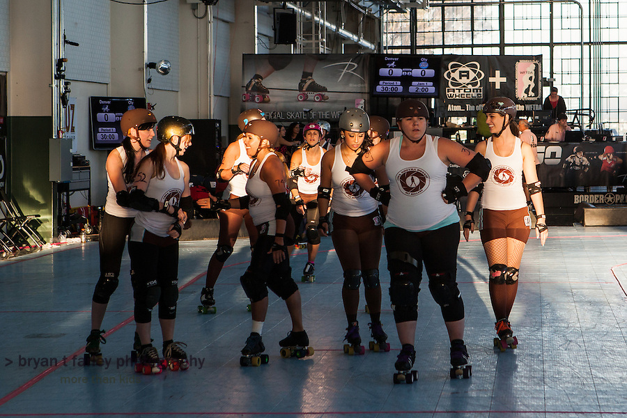 """A """"sun delay"""" at the 2012 WFTDA Western Regionals in Richmond, California delayed the last two bouts at the Craneway Pavilion."""