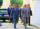 United States President George H.W. Bush says farewell to President Boris Yeltsin of the Russian Federation on the North Portico of the White House in Washington, DC  on June 18, 1992. <br /> Credit: Ron Sachs / CNP