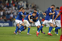 Nicolo Barella of Italy celebrates with team mates after scoring a goal<br /> Reggio Emilia 22-06-2019 Stadio Città del Tricolore <br /> Football UEFA Under 21 Championship Italy 2019<br /> Group Stage - Final Tournament Group A<br /> Belgium - Italy<br /> Photo Cesare Purini / Insidefoto