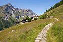 View towards Rifugio Ferraro, Resy, Aosta Valley, Monte Rosa Massif, Pennine Alps, Italy. July.