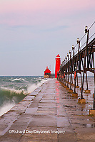 64795-01304 Grand Haven South Pier Lighthouse at sunrise on Lake Michigan, Ottawa County, Grand Haven, MI