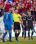 Colorado Rapids goalkeeper Tim Howard (1) receives a red card from the referee in the first half Saturday, April 21, 2018, during the Major League Soccer game at Rio Tiinto Stadium in Sandy, Utah. RSL beat the Colorado Rapids 3-0. (© 2018 Douglas C. Pizac)