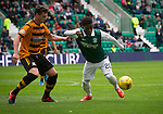 Recent signing Islam Feruz in action for the home team during the second-half at Easter Road stadium during the Scottish Championship match between Hibernian and visitors Alloa Athletic. The home team won the game by 3-0, watched by a crowd of 7,774. It was the Edinburgh club's second season in the second tier of Scottish football following their relegation from the Premiership in 2013-14.