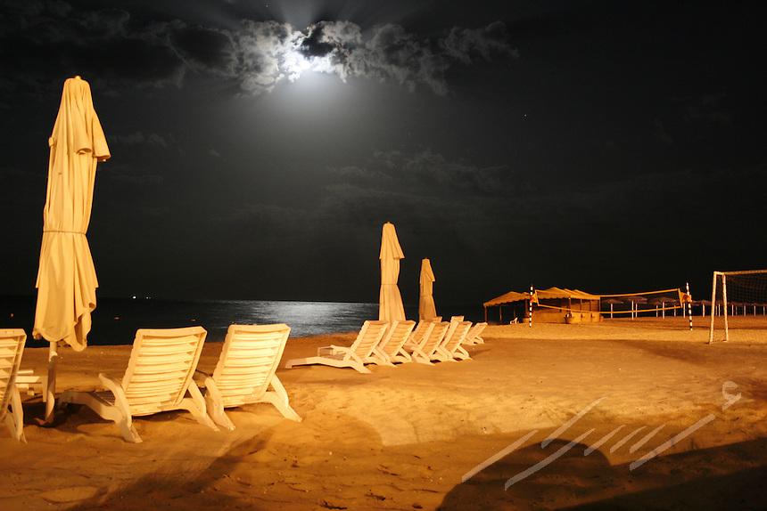 Empty beach under moon light.