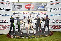 GS Podium, #46 Team TGM Mercedes-AMG, GS: Owen Trinkler, Hugh Plumb, #39 Carbahn Motorsports Audi R8, GS: Tyler McQuarrie, Jeff Westphal, #56 Murillo Racing Mercedes-AMG, GS: Jeff Mosing, Eric Foss, Michelin
