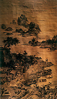 "Chinese Painting:  ""Night Market"", Qing Dynasty 1736.  Lang Shining (Guiseppe Castiglione) came to China in 1715 as a Jesuit Missionary and stayed at court for 50 years.  He used techniques learned in Portugal."