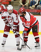 Michael Biega (Harvard - 27), Nick Pitsikoulis (St. Lawrence - 22) - The St. Lawrence University Saints defeated the Harvard University Crimson 3-2 on Friday, November 20, 2009, at the Bright Hockey Center in Cambridge, Massachusetts.