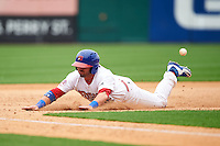 Buffalo Bisons outfielder Caleb Gindl (15) slides safely into third during a game against the Columbus Clippers on July 19, 2015 at Coca-Cola Field in Buffalo, New York.  Buffalo defeated Columbus 4-3 in twelve innings.  (Mike Janes/Four Seam Images)