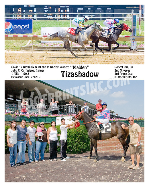 Tizashadow winning at Delaware Park on 7/4/12