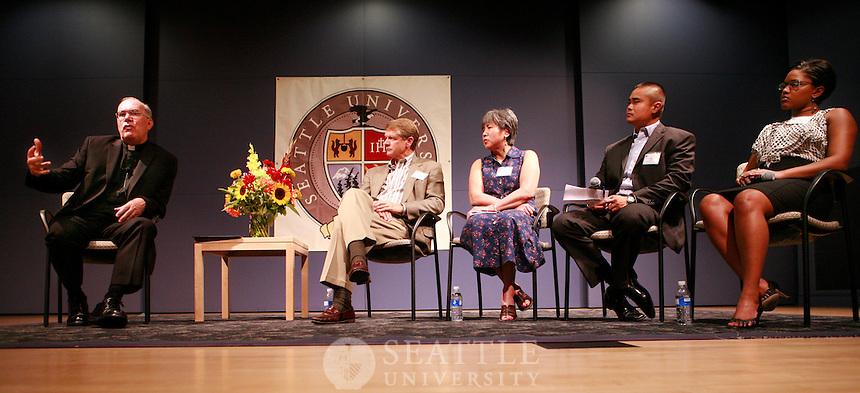 08232011 - Seattle University, President's State of the University and Wine Tasting event, quad, pigott, Fr. Steve Sundborg,