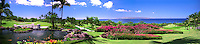 Golf Course Links Lush Landscaped Fairways, Golfing, Pond, Water, Palm Trees, red azalea hedges