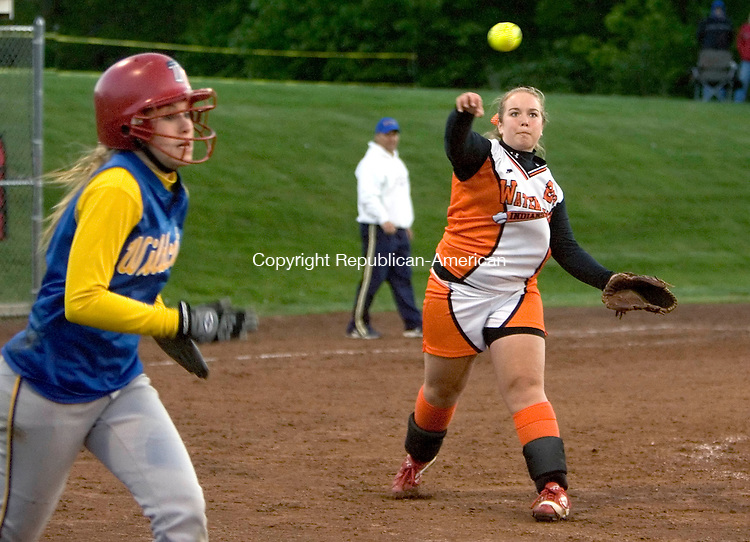 WOLCOTT, CT --MAY 22, 2008-052208JS05-Watertown's Meg Cordon (28) throws out Seymour's Kristen Greco (3) during their NVL semi-final game Thursday at Wolcott High School. <br /> Jim Shannon/Republican-American