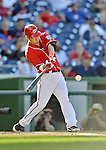 19 September 2012: Washington Nationals catcher Kurt Suzuki in action against the Los Angeles Dodgers at Nationals Park in Washington, DC. The Nationals defeated the Dodgers 3-1 in the first game of their double-header. Mandatory Credit: Ed Wolfstein Photo