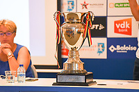 20190819 – GENT, BELGIUM : illustration picture shows the belgian Cup during a pre-season press conference presenting the new players  , new staff and new methods for the next season 2019-2020 for the AA Gent Ladies in the Belgian top division – The Superleague -  , Monday 19 th August 2019 at the Ghelamco Stadium in GENT  , Belgium  .  PHOTO SPORTPIX.BE | DAVID CATRY