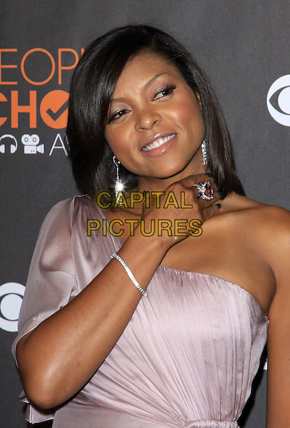 TARAJI P. HENSON .People's Choice Awards 2010 held At Nokia Theatre LA LiVE, .Los Angeles, California, USA, .6th January 2010..arrivals portrait headshot one shoulder pink lilac hand purple silver ring earrings jewelry jewellery bracelet  .CAP/ADM/KB.©Kevan Brooks/Admedia/Capital Pictures