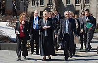 PQ leader Pauline Marois and all the PQ?s MNA arrive to a press conference in front of the Quebec Legislature building in Quebec City April 24, 2008. Marois announced that she would like the province to have control over Radio-television and Telecommunications issues, a currently under control of the federal with the CRTC.<br /> <br /> PHOTO :  Francis Vachon - Agence Quebec Presse