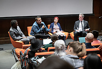 """""""Third L.A. presents Amnesiac City: Bolstering Civic Memory in Los Angeles""""<br /> Now in its fourth year, Occidental College's thought-provoking 3rd LA series returns. How should L.A., so often caricatured as a city of the future, engage more actively with its past and the broader notion of civic memory?<br /> The panel will explore the intersection of architecture, monuments, cultural identity and the histories of place.<br /> Host Christopher Hawthorne, Oxy professor of practice and chief design officer for the city of L.A., will be joined by, seated from left: Wajenda Chambeshi, the program manager for the Great Streets Initiative in the Mayor's Office of City Services; LA Times columnist Frank Shyong; Gail Kennard, president of Kennard Design Group (KDG), the oldest African-American- owned architectural practice in the West and vice-president of the Los Angeles Cultural Heritage Commission. Stella Ramos '20, organizer of the Indigenous Student Association at Oxy also participated although not on the panel.<br /> Nov. 5, 2019 in Choi Auditorium.<br /> (Photo by Marc Campos, Occidental College Photographer)"""