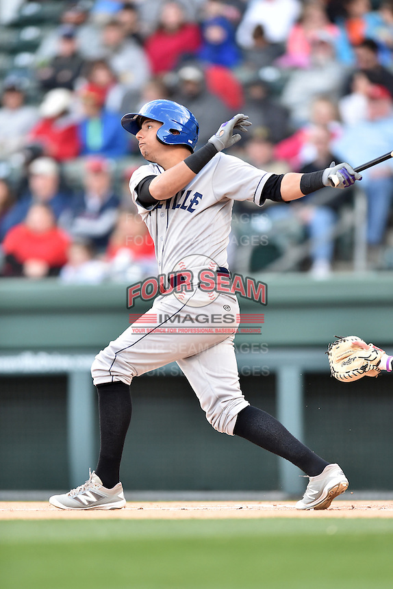 Asheville Tourists right fielder Yonathan Daza (2) swings at a pitch during a game against the Greenville Drive at Fluor Field on April 7, 2016 in Greenville South Carolina. The Drive defeated the Tourists 4-3. (Tony Farlow/Four Seam Images)