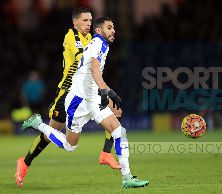Leicester City's Riyad Mahrez tussles with Watford?s Jose Holebas <br /> <br /> - English Premier League - Watford vs Leicester City  - Vicarage Road - London - England - 5th March 2016 - Pic David Klein/Sportimage