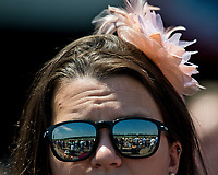 ELMONT, NY - JUNE 10: A woman wears sunglasses to block the sun on Belmont Stakes Day at Belmont Park on June 10, 2017 in Elmont, New York (Photo by Scott Serio/Eclipse Sportswire/Getty Images)