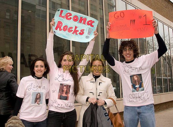 "FANS OF LEONA LEWIS.Appearance on ""Live with Regis and Kelly""at ABC Studios, New York, NY, USA, April 8, 2008..half length sign poster t-shirt picture photo banner .CAP/LNC/TOM.©LNC/Capital Pictures"