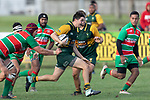 Trent White attacks through the middle of the park. Counties Manukau Premier Club rugby game between Pukekohe and Waiuku, played at Colin Lawrie Fields, Pukekohe on Saturday April 14th, 2018. Pukekohe won the game 35 - 19 after leading 9 - 7 at halftime.<br /> Pukekohe Mitre 10 Mega -Joshua Baverstock, Sione Fifita 3 tries, Cody White 3 conversions, Cody White 3 penalties.<br /> Waiuku Brian James Contracting - Lemeki Tulele, Nathan Millar, Tevta Halafihi tries,  Christian Walker 2 conversions.<br /> Photo by Richard Spranger