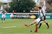 Ealing's Aaron Penberthy kicks the conversion during the Greene King IPA Championship match between Ealing Trailfinders and Bedford Blues at Castle Bar , West Ealing , England  on 29 October 2016. Photo by Carlton Myrie / PRiME Media