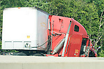CHESHIRE, CT-30 June 2014-063014EC07--   A jack-knifed tractor trailer accident on I-84 West near Exit 26 Monday afternoon had traffic snarled for over an hour. Erin Covey Republican-American