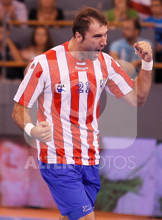 Balonmano Atletico de Madrid's Joan Canellas celebrate goal during Spanish Handball Supercup match.September 4,2011. (ALTERPHOTOS/Acero)