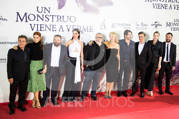 "Eduard Fernandez, Juana Acosta, Pepon Nieto, Dafne Fernandez, Alex de la Iglesia, Belen Rueda, Eduardo Noriega, Ernesto Alterio, Carolina Bang and Kiko Martinez during the premiere of the spanish film ""Un Monstruo Viene a Verme"" of J.A. Bayona at Teatro Real in Madrid. September 26, 2016. (ALTERPHOTOS/Borja B.Hojas)"