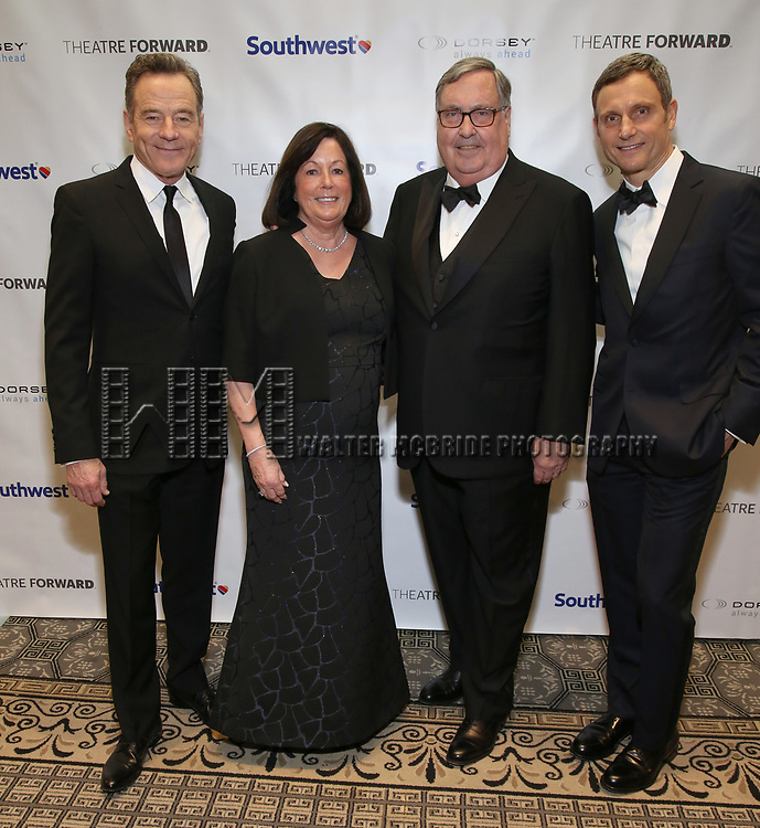 Bryan Cranston, Pamela Farr, Buford Alexander and Tony Goldwyn during a reception for Theatre Forward's Chairman's Awards Gala at the Pierre Hotel on April 8, 2019 in New York City.