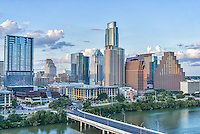 This is an image of the Austin cityscape we took using our aerial camera.  This image shows the First Street Bridge with Austin City Hall in front of the W Hotel, and the Frost, Ashton Condos, and the Austonian with the new Marriott behind.  Also in view is the new high-rise Colorado building all the buildings run along Lady Bird Lake.
