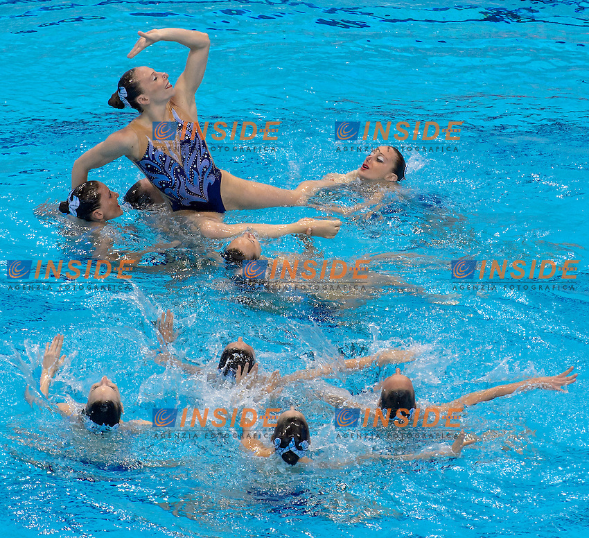 ITALY ITA Bronze Medal <br /> BOZZO Elisa CALLEGARI Beatrice CATTANEO Camilla <br /> CERRUTI Linda DEIDDA Francesca FERRO Costanza FLAMINI Manila PERRUPATO Mariangela SGARZI Sara GALLI Gemma <br /> Free Combination Final <br /> London, Queen Elizabeth II Olympic Park Pool <br /> LEN 2016 European Aquatics Elite Championships <br /> Synchronized Swimming <br /> Day 04 12-05-2016<br /> Photo Andrea Staccioli/Deepbluemedia/Insidefoto